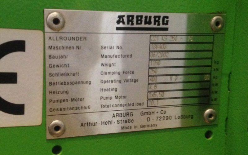 تزریق پلاستیک ۶۰۰ گرم (۲۵۰ تن) آربورگ